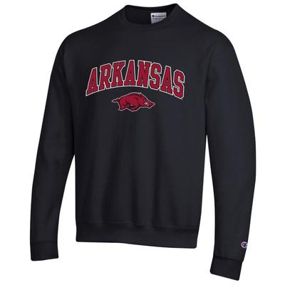 Arkansas Champion Arch Logo Fleece Crew BLACK