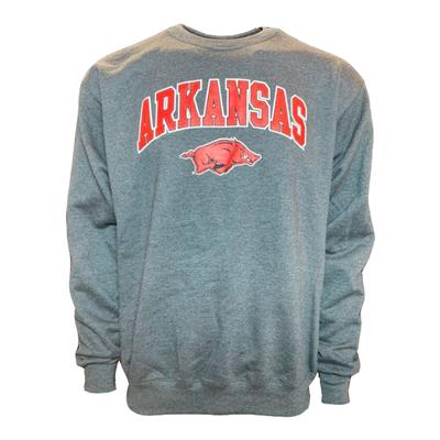 Arkansas Champion Arch Logo Fleece Crew GRANITE_HTHR