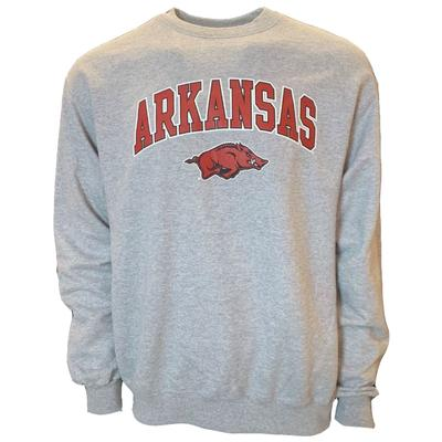 Arkansas Champion Arch Logo Fleece Crew HTHR_GRY