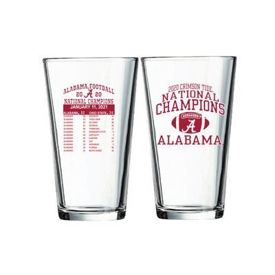Alabama 2020 National Champions 16 oz Score Mixing Glass