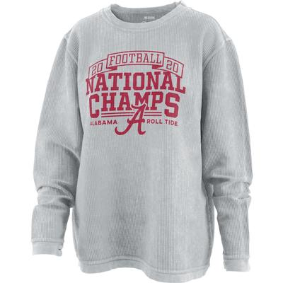 Alabama 2020 National Champions Women's Pressbox Comfy Corded Sweatshirt