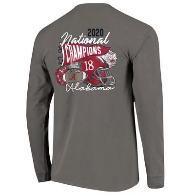 Alabama 2020 National Champions Women's Helmet Script Long Sleeve Comfort Colors Shirt
