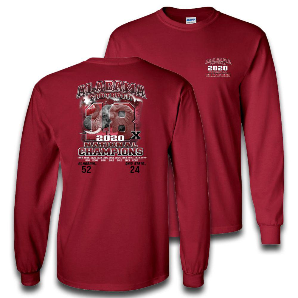 Alabama 2020 National Champions 18 Time Champs Score Long Sleeve Shirt