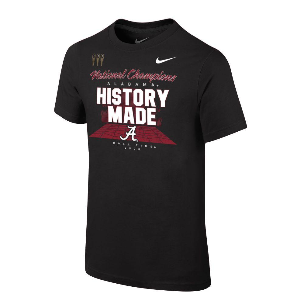 Alabama 2020 National Champions Youth Nike Locker Room Short Sleeve Tee