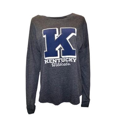 Kentucky Women's Tri-blend Off Shoulder Tee BLACK_HTHR