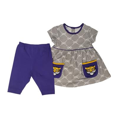 Ishtex Girls Purple and Grey Short Sleeve Tee and Capri Set