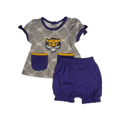 Ishtex Purple and Grey Infant Tee and Bloomer Set