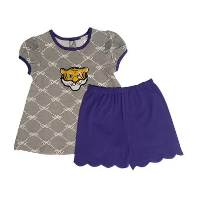 Ishtex Purple and Grey Toddler Tee and Bloomer Set