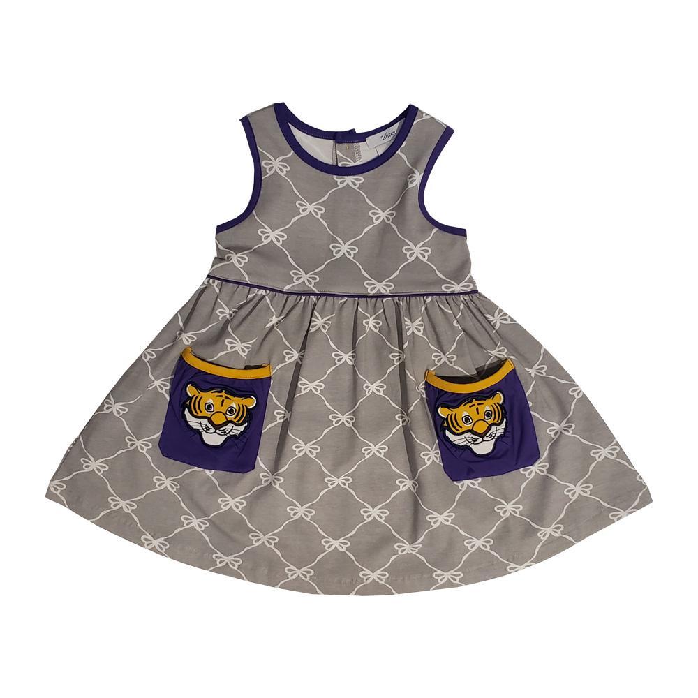 Ishtex Toddler Grey And Purple Bow Print Tank Dress
