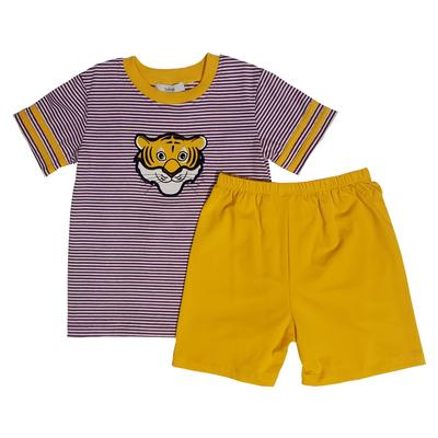 Ishtex Toddler Purple and Gold Striped Tee & Short Set