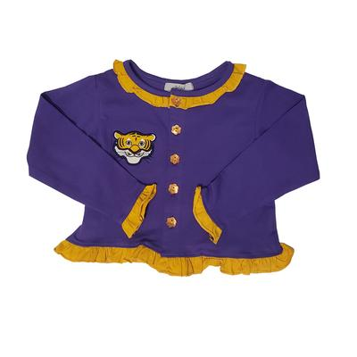 Ishtex Toddler Purple and Gold Long Sleeve Cardigan