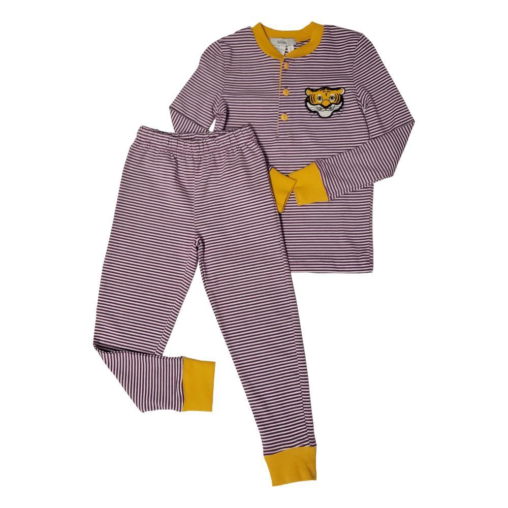 Ishtex Toddler Purple And Gold Striped Pajamas