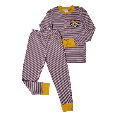 Ishtex Toddler Purple and Gold Striped Pajamas