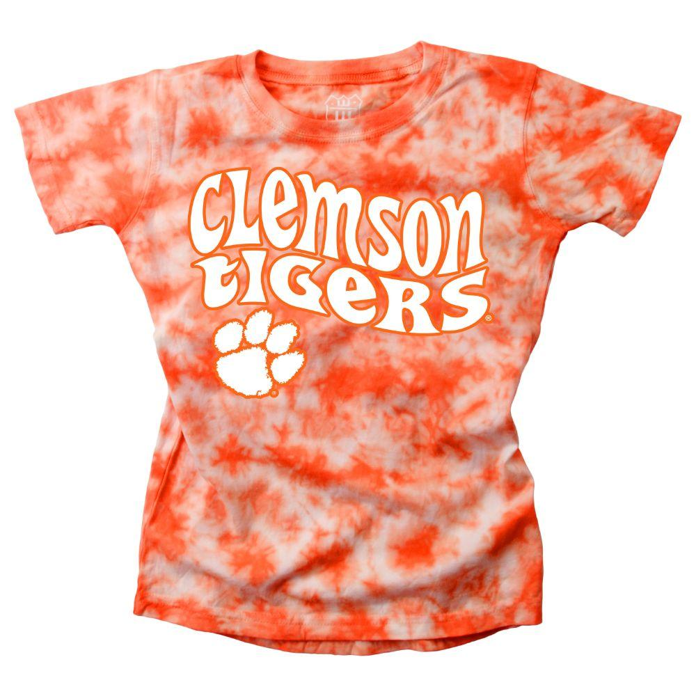 Clemson Wes And Willy Girls Tie Dye Retro Tee