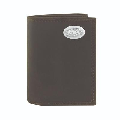 Arkansas Leather Tri-fold Wallet with Metal Concho