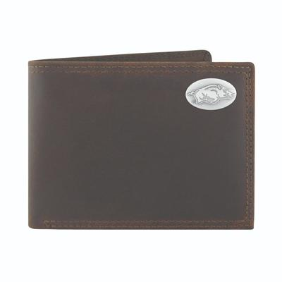 Arkansas Leather Bi-fold Wallet with Metal Concho