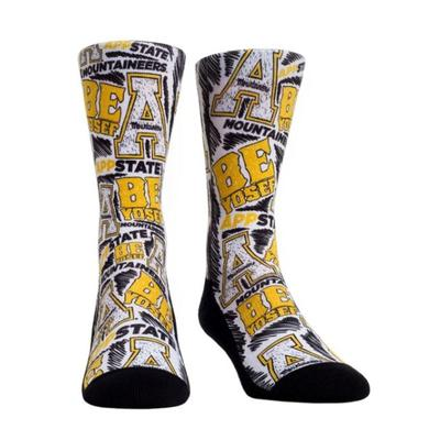 Appalachian State Rockem Youth Logo Sketch Crew Socks