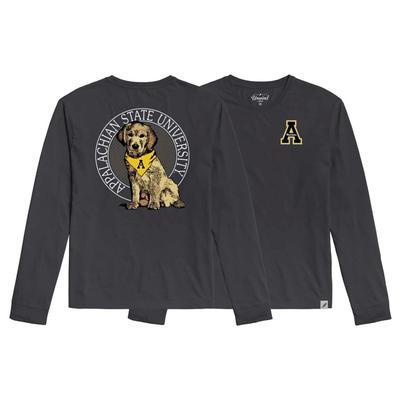 Appalachian State League Tumble Wash Rally Dog Long Sleeve Tee