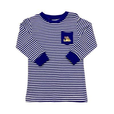 LSU Toddler Tiger Eye Striped Pocket Tee