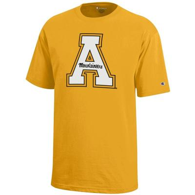 Appalachian State Champion Youth Giant Block A Tee GOLD