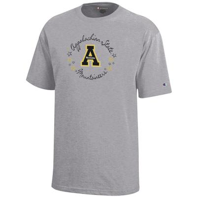 Appalachian State Champion Youth Circle Stars Script Short Sleeve Tee