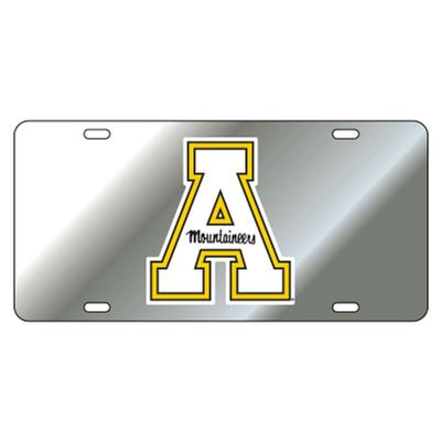 Appalachian State Silver Block A License Plate