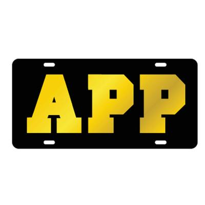 Appalachian State Black with Gold App License Plate