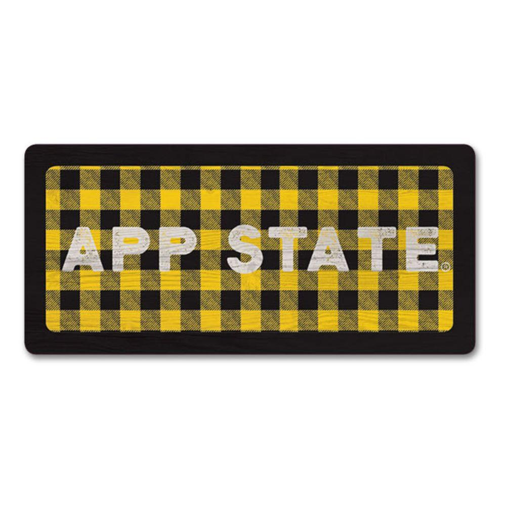 Appalachian State Legacy App State Buffalo Plaid Rectangle Magnet