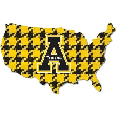 Appalachian State Legacy Buffalo Plaid USA Shape Wall Art