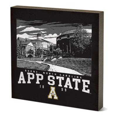 Appalachian State Legacy Campus Poster Square Table Top Block