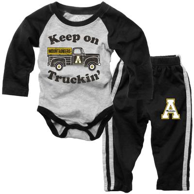 Appalachian State Infant Keep on Truckin' Long Sleeve Onesie Pant Set