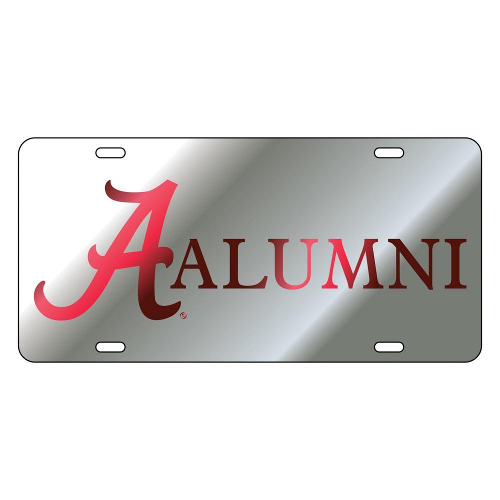 Alabama License Plate Silver/Crimson Script A Alumni