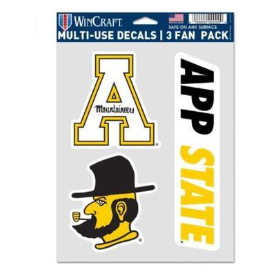 Appalachian State Fan 3 Pack Multi-use Decals