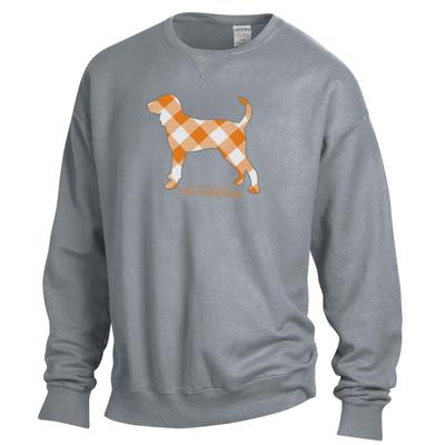 Tennessee Gingham Hound Long Sleeve Comfort Colors Crew