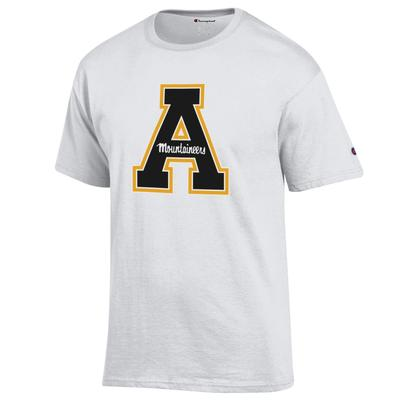 Appalachian State Champion Men's Giant Block A Logo Tee WHITE