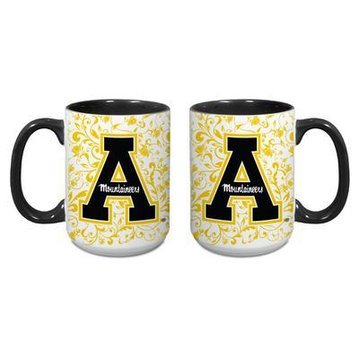 Appalachian State 15 oz Block A Floral Mug