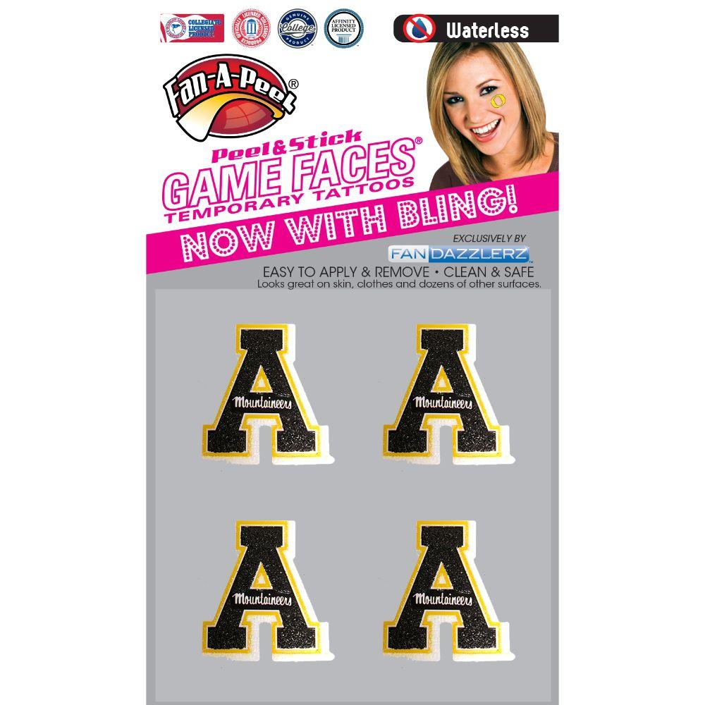 Appalachian State 4pk Fandazz Glitter Game Face Decals
