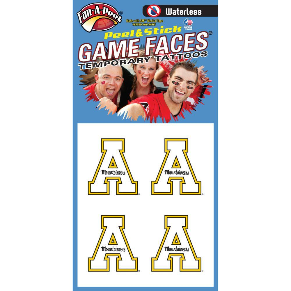 Appalachian State 4pk Waterless White Block A Game Face Decals