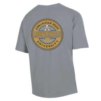 Appalachian State Distressed Circle Short Sleeve Comfort Colors Tee