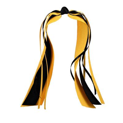 Ashley on Campus Black and Gold Streamer Ponytail Holder