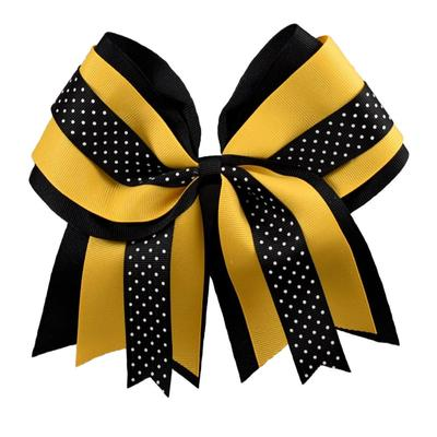 Ashley on Campus Black and Gold Little Girl Layered Dot Cross Bow