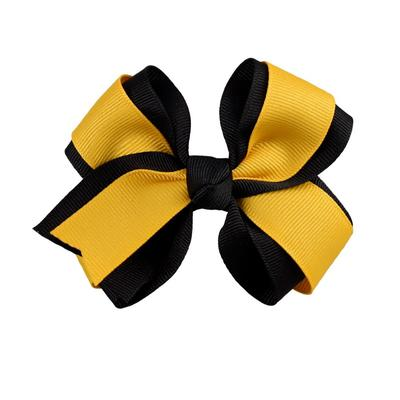 Ashley on Campus Black and Gold Fluff Bow