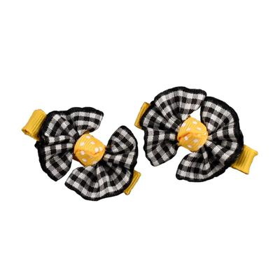 Ashley on Campus Black and Gold Bow Pair