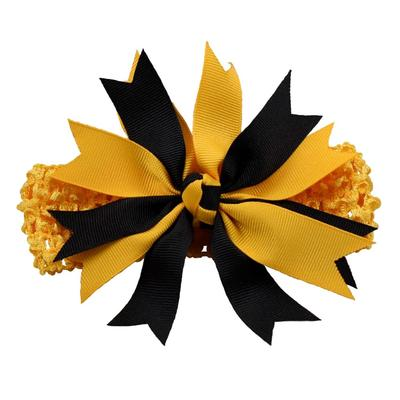 Ashley on Campus Black and Gold Crochet Pinwheel Headband