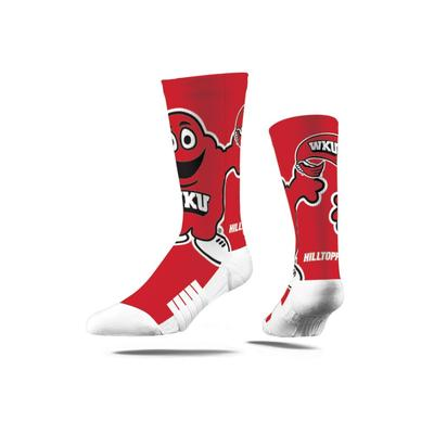 Western Kentucky Strideline Mascot Full Sublimated Crew Socks