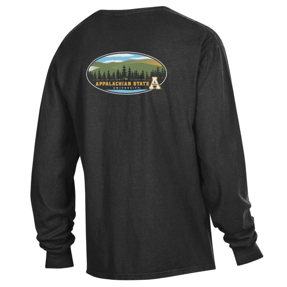 Appalachian State Oval Mountains Long Sleeve Comfort Colors Tee