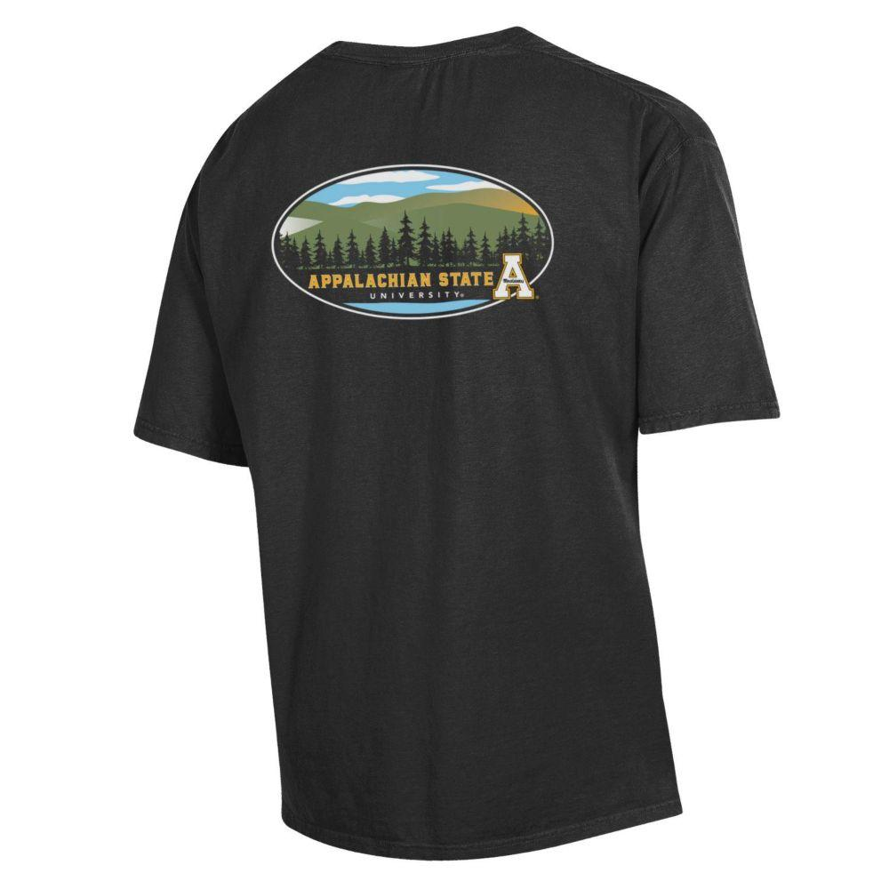 Appalachian State Oval Mountains Short Sleeve Comfort Colors Tee