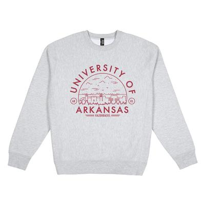Arkansas Uscape Heavyweight Crew Heather Voyager Sweatshirt