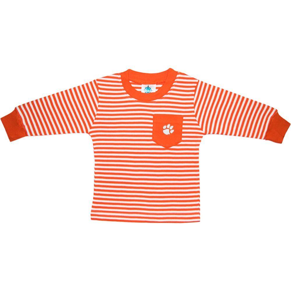 Clemson Toddler Striped Long Sleeve Pocket Tee