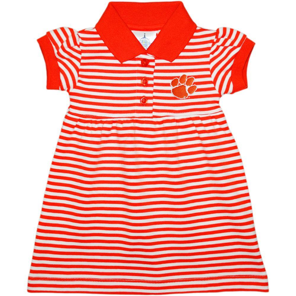 Clemson Infant Striped Game Dress With Bloomers